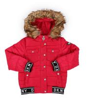 Girls - Rib Bottom Faux Fur Hood Puffer Jacket (7-16)-2552563