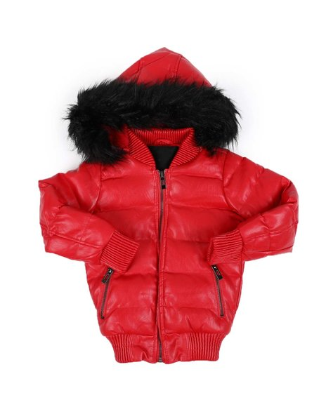 Arcade Styles - Faux Leather Quilted Puffer Jacket W/ Faux Fur Trim (4-14)