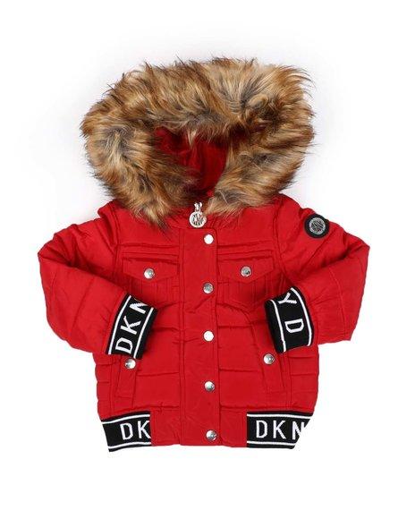 DKNY Jeans - Rib Bottom Faux Fur Hood Puffer Jacket (2T-4T)