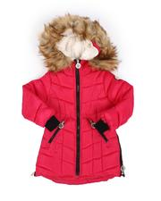 Girls - Quilted Faux Fur Trim Hood Long Puffer Jacket (4-6X)-2554974