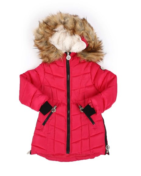 DKNY Jeans - Quilted Faux Fur Trim Hood Long Puffer Jacket (4-6X)