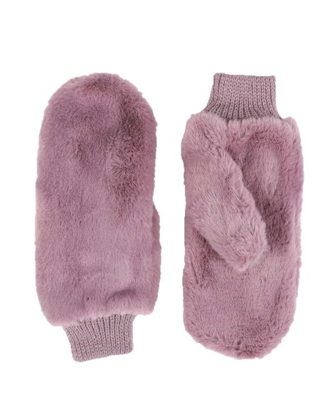 Fashion Lab - Faux Fur Mittens W/ Sherpa Lining