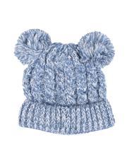 Fashion Lab - Chunky Knit Beanie W/ Double Pom Pom-2556055