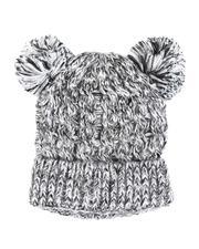 Fashion Lab - Chunky Knit Beanie W/ Double Pom Pom-2556056