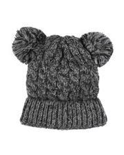 Fashion Lab - Chunky Knit Beanie W/ Double Pom Pom-2556061