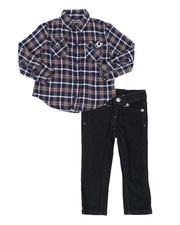 Sizes 2T-4T - Toddler - 2 Pc TR Plaid Button Down Shirt W/ Back Logo & Jeans (2T-4T)-2552751