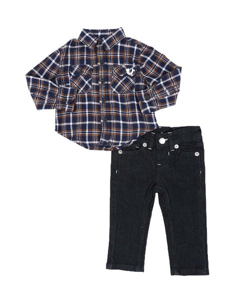 True Religion - 2 Pc TR Plaid Button Down Shirt W/ Back Logo & Jeans (Infant)