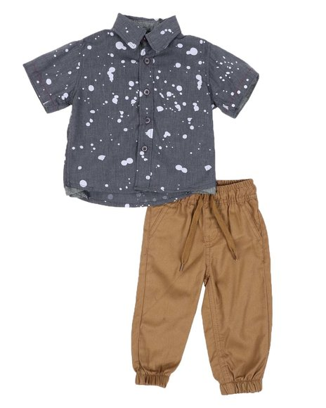 Arcade Styles - 2 PC All Over Print Button Down Shirt & Twill Jogger Pants Set (Infant)