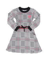 Girls - Plaid Knit Skater Dress (7-16)-2553111