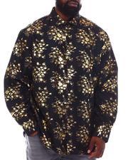 Men - Floral Gold Foil Long Sleeve Woven Shirt (B&T)-2558412