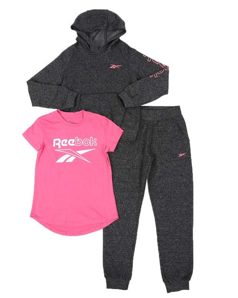 Reebok - 3 Pc Logo Shirt, Pullover Hoodie & Jogger Pants Set (7-16)