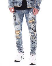 SMOKE RISE - Super Stretch Splatter and Graffiti Jean-2558173