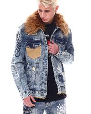 Denim Jackets - Denim Jacket w Faux Fur Collar-2558246
