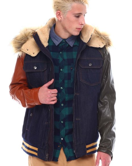SMOKE RISE - Colorblock Denim Jacket w Hood