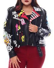 Fashion Lab - Plus Faux Leather Graffiti Biker Jacket-2554129