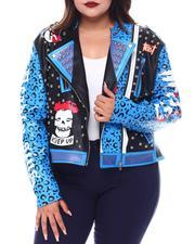 Fashion Lab - Plus Faux Leather Studded Biker Jacket-2554153