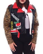 Fashion Lab - Plus Faux Leather Studded Graffiti   Moto Jacket-2554184