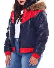 Fashion Lab - Plus Ladies Padded Bomber Jacket W/Faux Fur Detachable Hood-2556067
