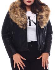 Plus Size - Plus Biker Jacket W/Fox Fur-2556107