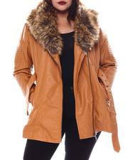 Plus Size - Plus 3/4 Biker Jacket W/Fox Fur-2556116