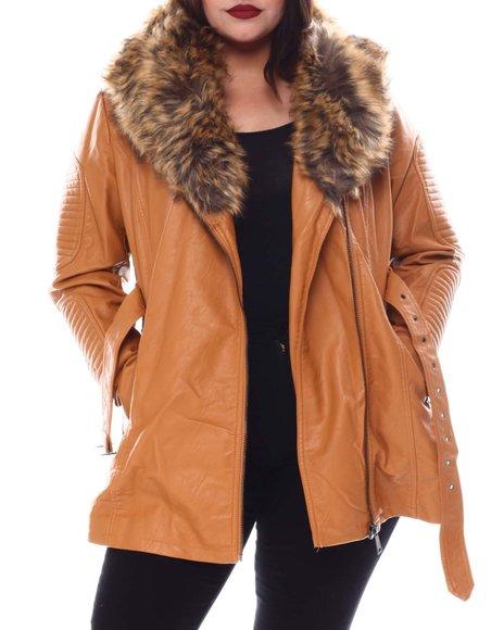 Red Fox - Plus 3/4 Biker Jacket W/Fox Fur