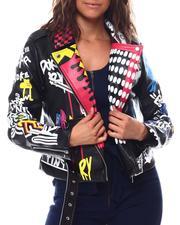 Fashion Lab - Graffiti Print Moto Faux Leather Biker Jacket-2559656