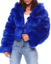 Fashion Lab - Faux Fur Crop Hoodie Jacket-2559668