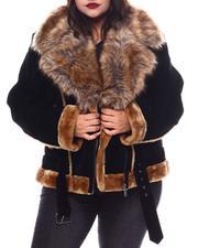 Fashion Lab - Plus Faux Shearling Biker Jacket W/ Faux Fur Trim & Belt-2556082