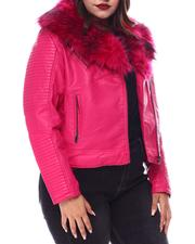 Plus Size - Plus Biker Jacket W/Fox Fur-2556098