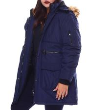 Plus Size - Hooded Puffer Jacket W/Faux Fur Trim Hood-2537944