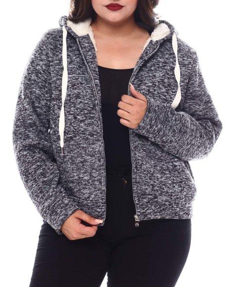 Fashion Lab - Plus Cozy Zip Front Hoodie