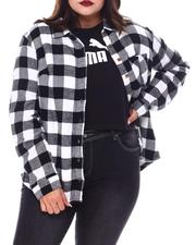 Plus Size - L/S Flannel Plaid Button Down Shirt(Plus)-2552690