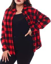 Plus Size - L/S Flannel Plaid Button Down Shirt(Plus)-2552694
