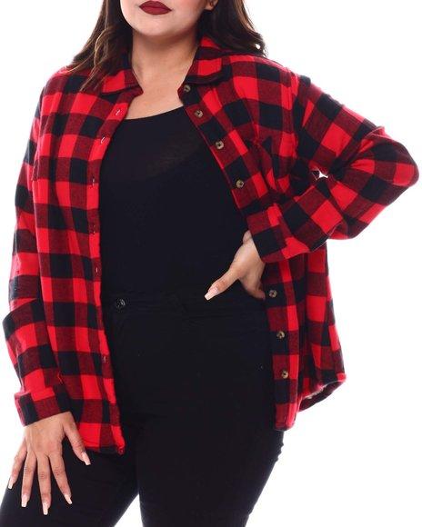 DEREK HEART - L/S Flannel Plaid Button Down Shirt(Plus)