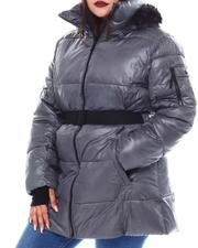 Fashion Lab - Plus  Belted Hooded Padded Coat W/ Welt Pockets-2553235