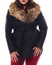 Plus Size - Plus 3/4 Biker Jacket W/Fox Fur-2556072