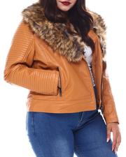 Plus Size - Plus Biker Jacket W/Fox Fur-2556103