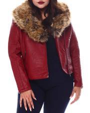 Red Fox - Plus Biker Jacket W/Fox Fur-2556111
