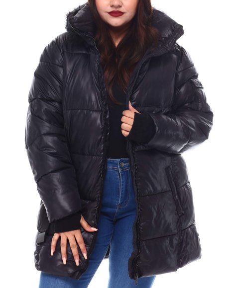 Fashion Lab - Plus  Belted Hooded Padded Coat W/ Welt Pockets
