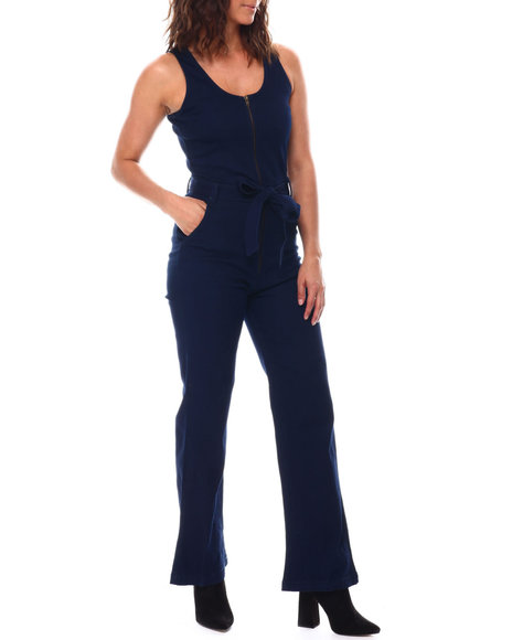 Fashion Lab - Zip Frt S/L Denim Jumpsuit