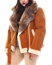 Plus Size - Plus Faux Shearling Biker Jacket W/ Faux Fur Trim & Belt-2556086