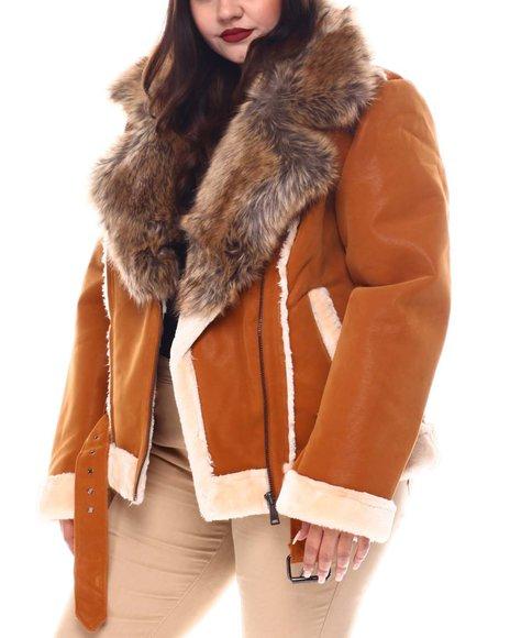 Fashion Lab - Plus Faux Shearling Biker Jacket W/ Faux Fur Trim & Belt