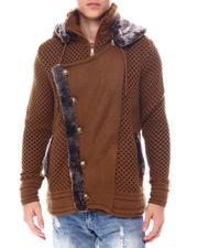 Men - Asymmetrical Zip Hoodie Sweater w Removable Faux Fur Trim-2560164