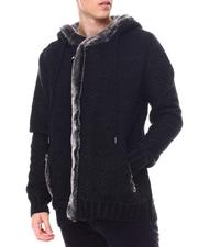 Black Friday Deals - Asymmetrical Zip Hoodie Sweater w Removable Faux Fur Trim-2560188