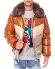 Heavy Coats - Chevron colorblock Puffer Coat w  Removable Faux Fur collar - Desert Fox-2560288