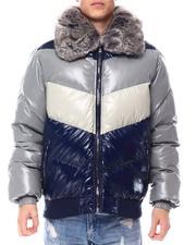 Jordan Craig - Chevron colorblock Puffer Coat w  Removable Faux Fur collar - London Blue-2560302