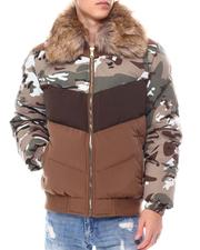 Jordan Craig - Chevron colorblock Puffer Coat w  Removable Faux Fur collar - Camo-2560295