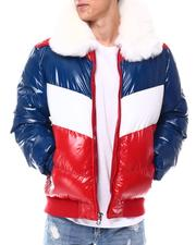 Heavy Coats - Chevron colorblock Puffer Coat w  Removable Faux Fur collar - Americana-2560309