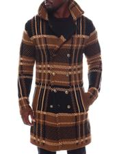 Stylist Picks - Long Plaid Dbl Breast Knit Peak Lapel Coat w Removable Faux Fur-2562007
