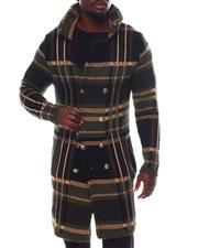 Stylist Picks - Long Plaid Dbl Breast Knit Peak Lapel Coat w Removable Faux Fur-2562026